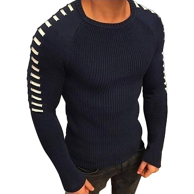2ae0d55cb2b0c JiaMeng Hombre Manga Larga Sudadera Suéter de Manga Larga de Invierno de  Punto sólido Jerseys Blusa Camiseta de CompresiónManga Larga para Hombre   ...