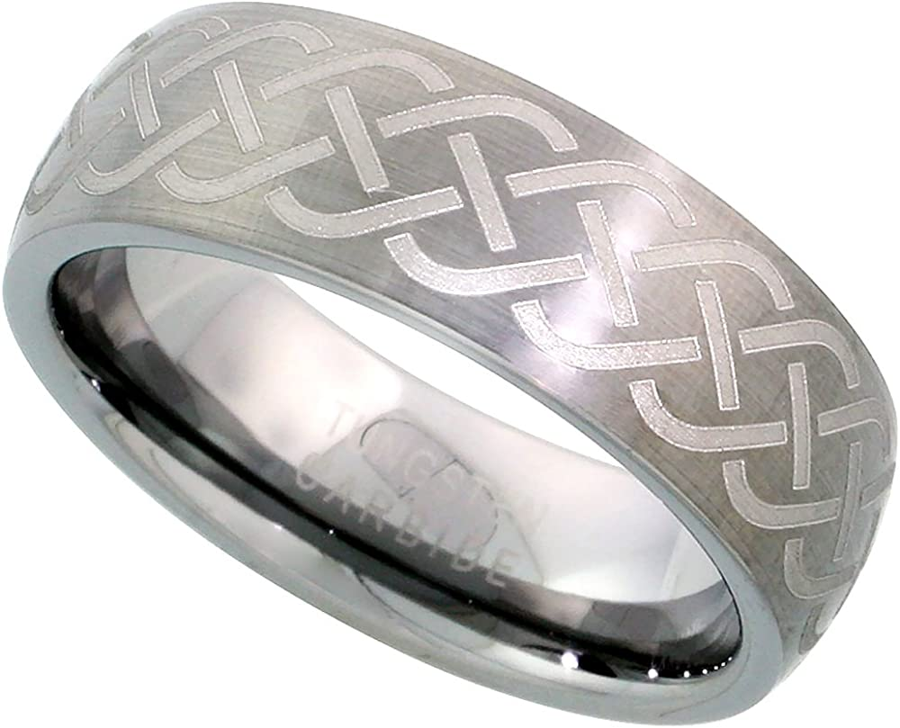 Sabrina Silver Tungsten Carbide 7 mm Domed Wedding Band Ring Brushed Finish Etched Celtic Knot Center, Sizes 7 to 14