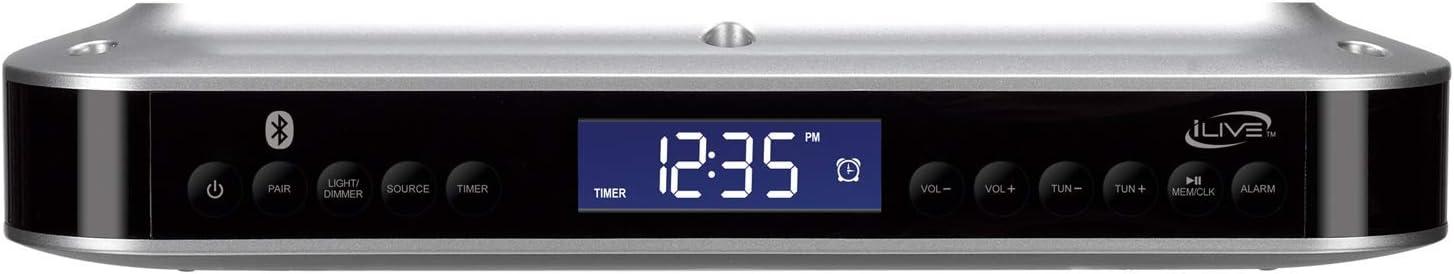 iLive Wireless Under Cabinet Bluetooth FM Radio, 9.09 X 7.32 X 2.44 Inches, Includes Mounting Hardware (IKB318S) (Renewed)