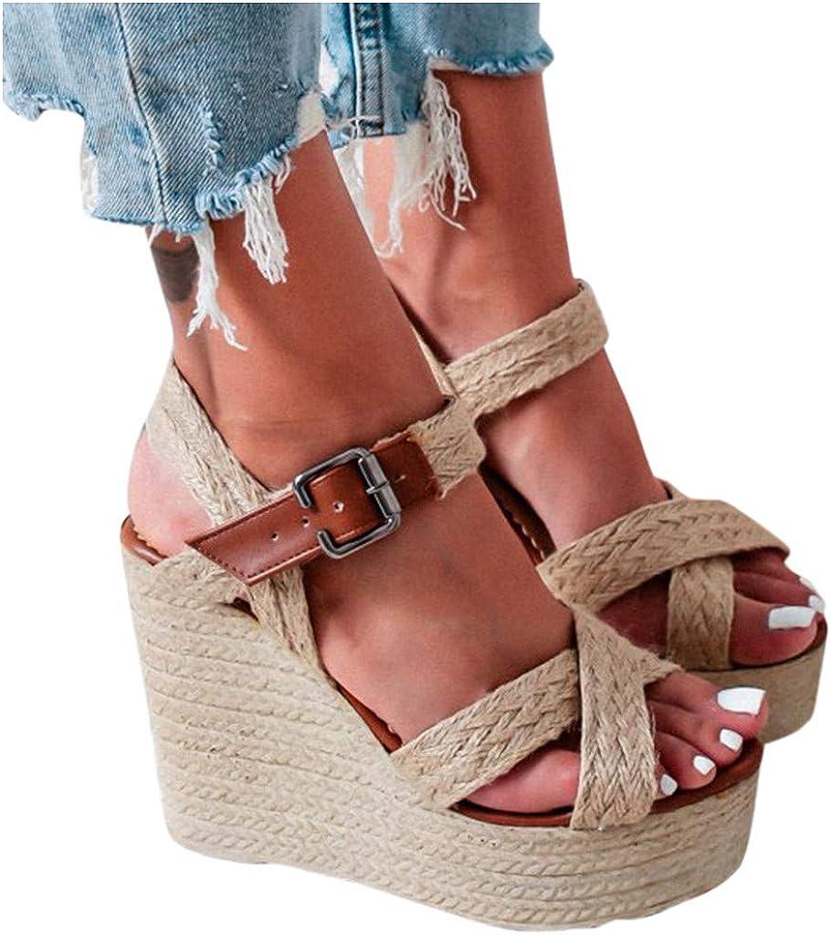 Fainosmny Women Ladies Fashion Casual Big Size Buckle Wedges Sandals Roman Shoes