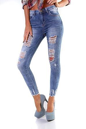 4456 Damen Jeans Röhre Skinny Treggings Slimfit Damenjeans Stretch Destroyed