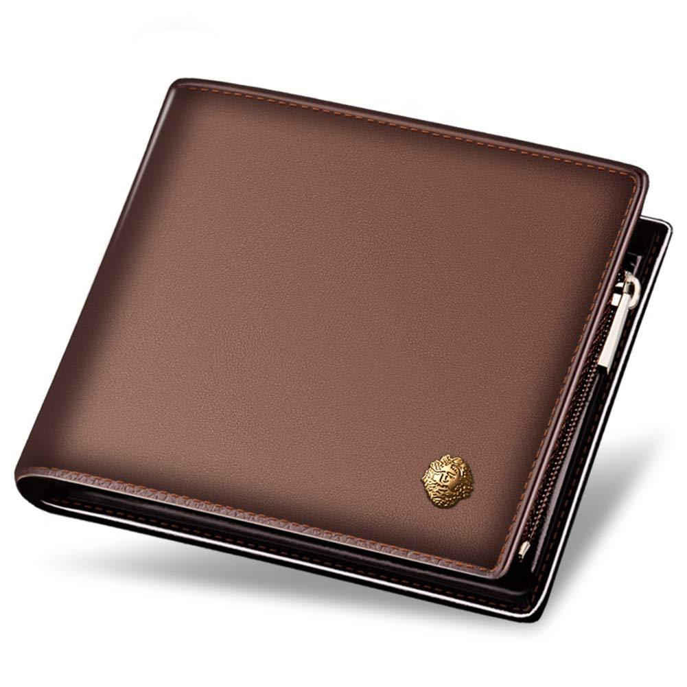 LAORENTOU Men's Genuine Leather Wallet Clutch Wallets Purse Card Holder with Zipper Pocket (BROWN)