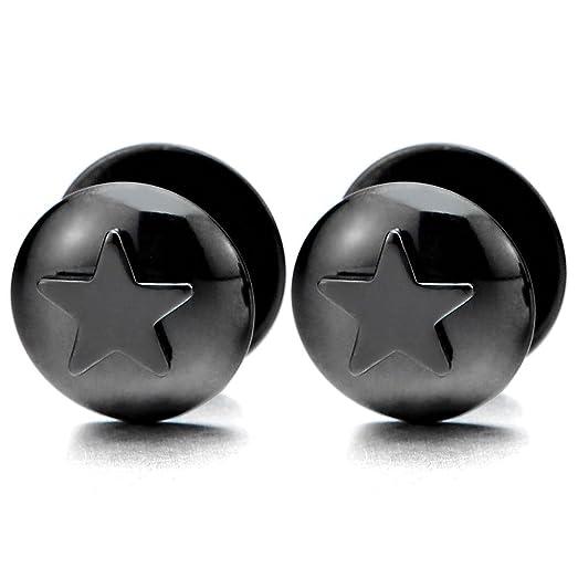 Black Steel Mens Women Pentagram Star Stud Earrings, Cheater Fake Ear Plugs Gauges, 2 pcs