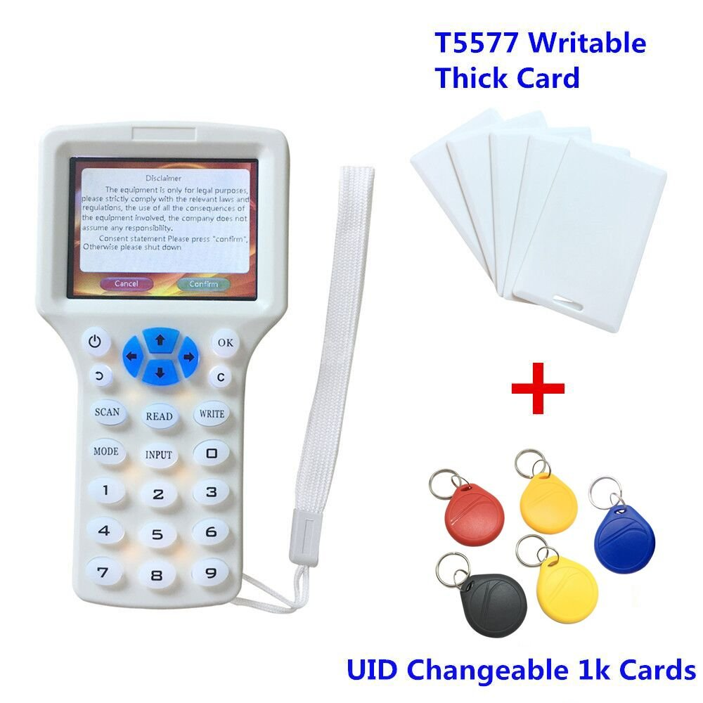 Rfid NFC - Lector de copiadora de para 10 frecuencias para de tarjetas de identificación IC y todas las tarjetas de 125 kHz, paquete con 5 tarjetas de escritura T5577 + 5 etiquetas UID intercambiables de 1 K 2882ee