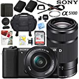 Sony a5100 Alpha Mirrorless Digital Camera with 16-50mm & 55-210mm Lens (Black) ILCE-5100L/B Extra Battery Case Memory Card Deluxe Pro Bundle