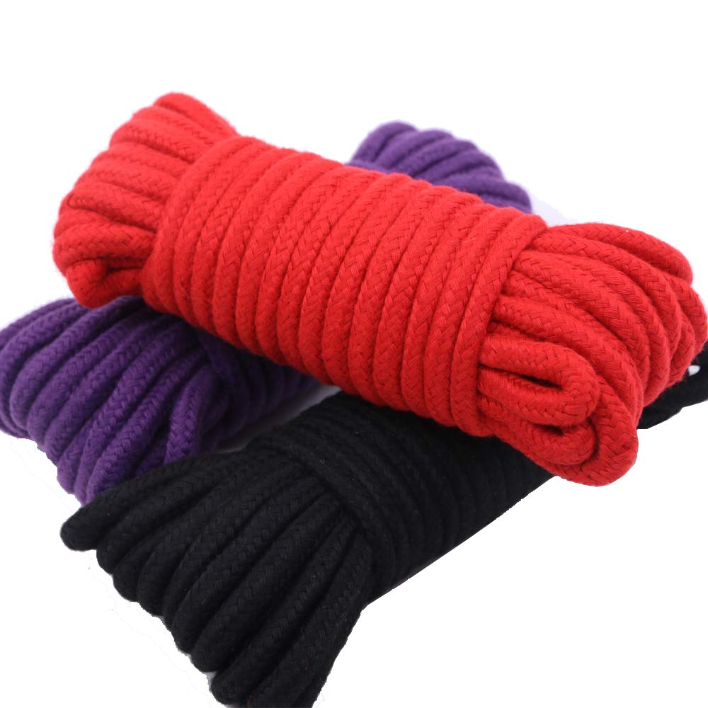 Renashed 3 Pack 32 Feet 10M All-Purpose Soft Twisted Cotton Braided Knot Tying Rope Black, Red, Purple