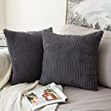 MIULEE Corduroy Soft Solid Decorative Square Throw Pillow Case Striped Cushion Cover for Home Sofa Bedroom Car 18 x 18 Inch 45 x 45Cm Grey Set of 2 Lined