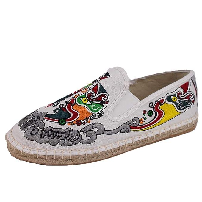 Qiusa Alpargatas con diseño Bordado Chino para Hombres Bombas sin Cordones con Suela Blanda (Color : Blanco, tamaño : EU 41): Amazon.es: Hogar