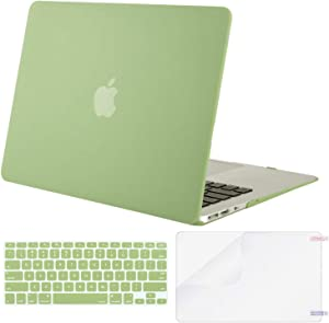 MOSISO Plastic Hard Shell Case & Keyboard Cover & Screen Protector Only Compatible with MacBook Air 13 inch (Models: A1369 & A1466, Older Version 2010-2017 Release), Chartreuse