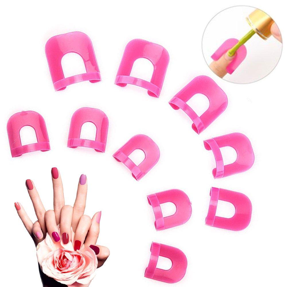 Nail Protector, Nail Cap Clips, Manicura Protector de pantalla Tools reutilizable uñas plantilla, übermalen en Nail Art Stamping y aerógrafo, protección de dedos y la piel, 26unidades) PTKOONN