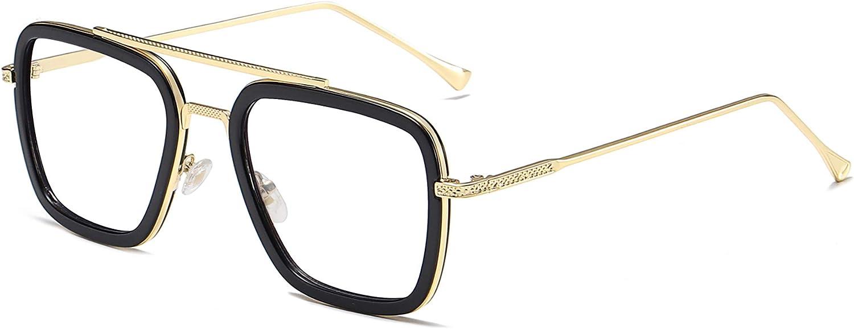 SOJOS Blue Light Blocking Glasses for Men Women Aviator Square Classic Tony Stark Glasses SJ1126