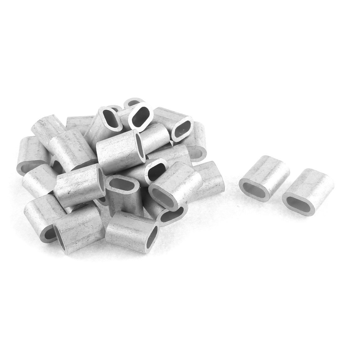 uxcell 8mm Steel Wire Rope Aluminum Ferrules Sleeves Fittings Loops 30 Pcs
