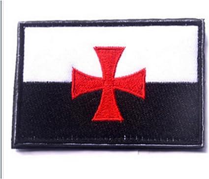 KingNew Knights - Parche de estilo militar con bandera de los templarios, diseño de cruz de cruz con bordado táctico Morale: Amazon.es: Coche y moto