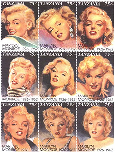 Marilyn Monroe, 9 Stamp Sheet, Tanzania 1992, Scott 809