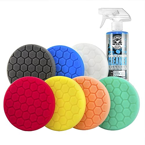 Chemical Guys Hex Logic 5Inch Buffing Pad Kit (Set Of 7 + Cleaning Spray)
