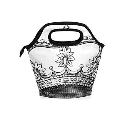 Amazon.com: Lunch Box Crown Tattoos Black Womens Insulated ...