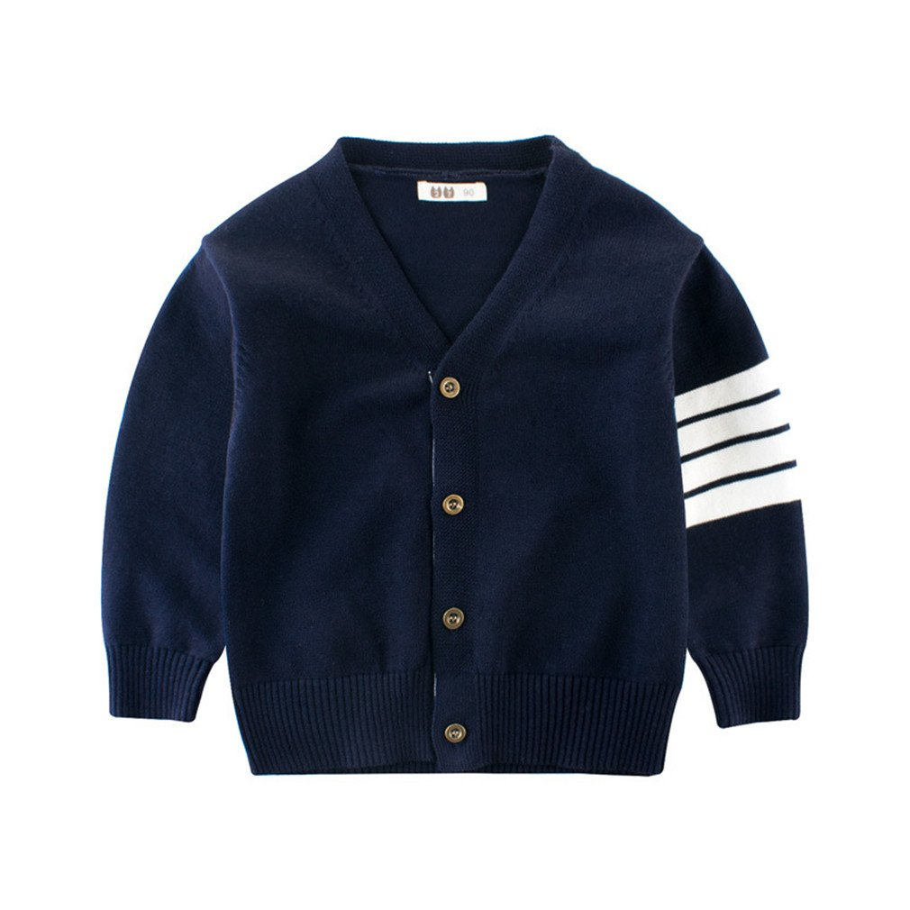 Autumn Boys Sweater Long Sleeve Sweaters Cotton Boy Cardigan Spring Baby Coat 2-10 Years Children's Clothing Blue 6T