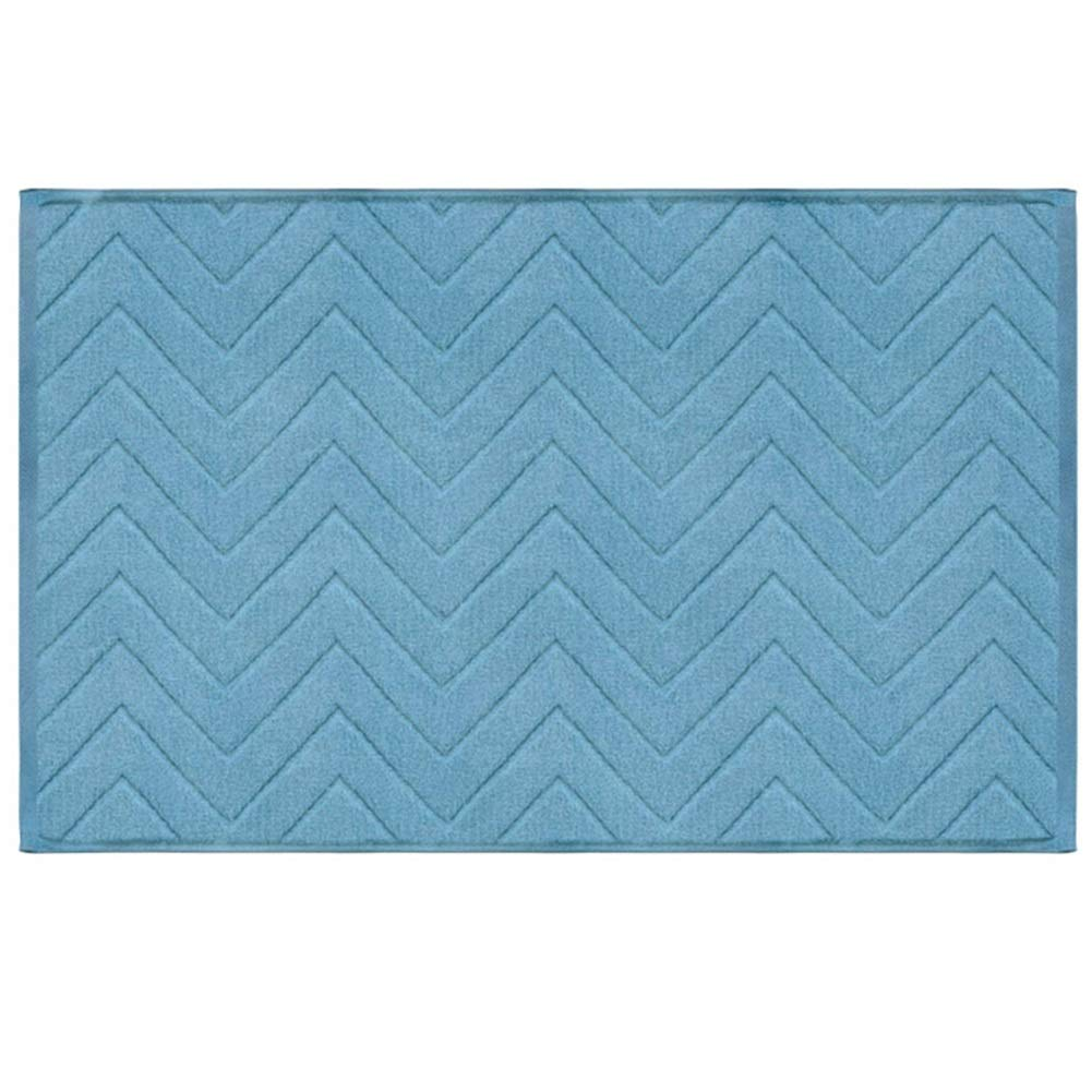 WHAIYAO Bathroom Mat Hotels Family Cotton Super Absorbent Wear Resistant Easy to Clean, 2 Colors (Color : Blue, Size : 80X50cm)