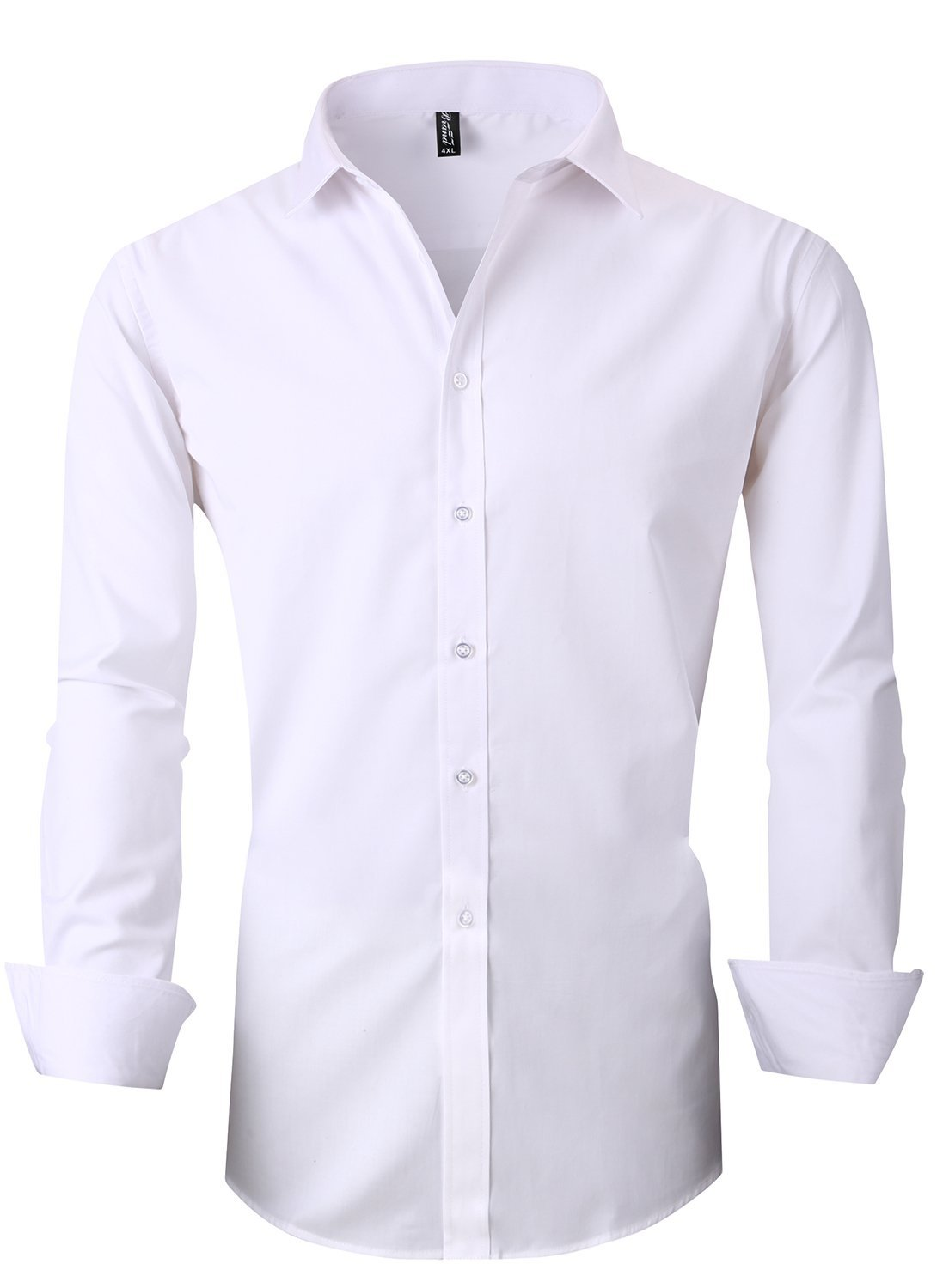JHVYF Men's Casual Long Sleeve Business Slim Fit Button Down Dress Shirts 5618 White AS 5XL/US XL