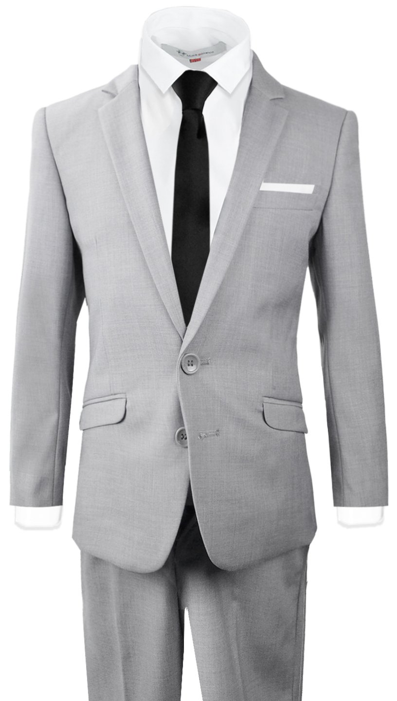Black n Bianco Signature Boys' Slim Fit Suit Complete Outfit (14, Light Gray)