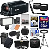 Canon Vixia HF R800 1080p HD Video Camera Camcorder (Black) 64GB Card + Battery & Charger + Case + Tripod + 3 Filters + LED + Mic + 2 Lens Kit