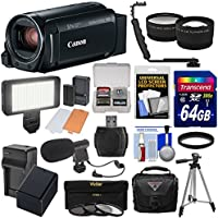 Canon Vixia HF R800 1080p HD Video Camera Camcorder (Black) with 64GB Card + Battery & Charger + Case + Tripod + 3 Filters + LED + Mic + 2 Lens Kit