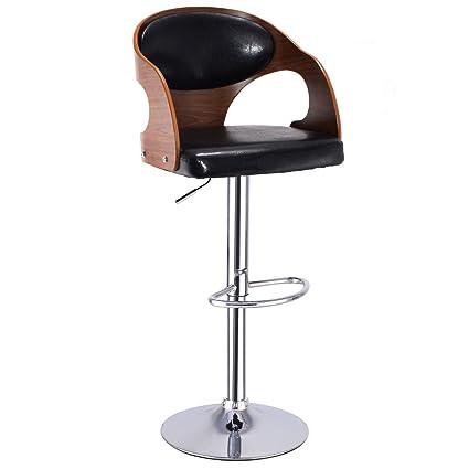 Tremendous Costway Walnut Bentwood Swivel Adjustable Height Bar Stool With Black Back Vinyl Seat Dailytribune Chair Design For Home Dailytribuneorg