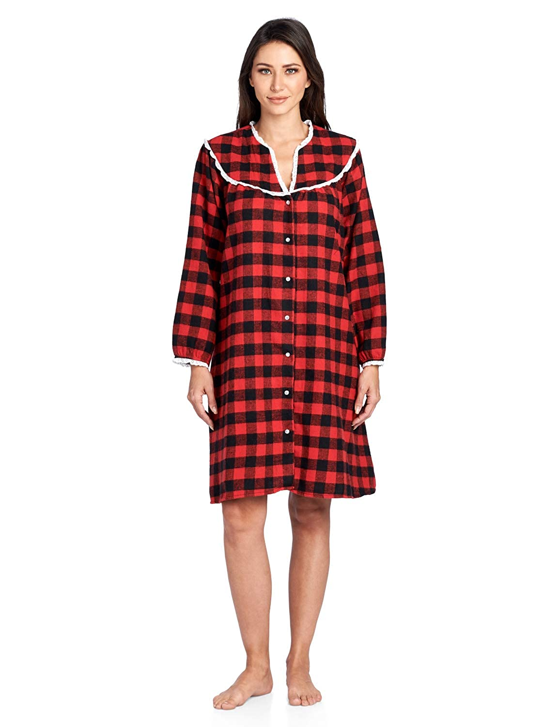 Ashford & Brooks Women's Flannel Plaid Long Sleeve Snap Front Lounge Duster 78269-FD