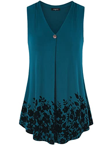 Laksmi Womens Sleeveless Pleated V Neck A Line Floral Printed Casual Flow Summer Tunic Tops