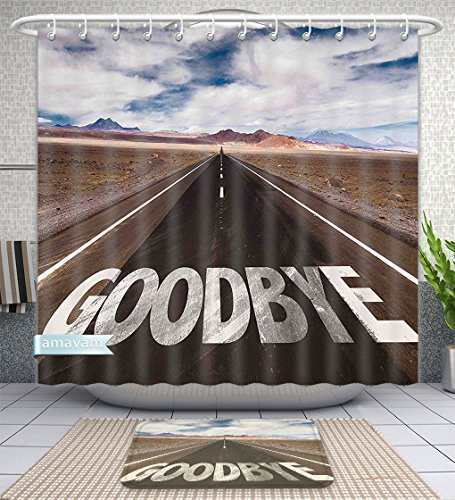 Unique Custom Bathroom 2-Piece Set Going Away Party Decorations Goodbye Written On Asphalt Road Highway City Urban Words Brown Blue White Shower Curtains and Bath Mats Set, 79