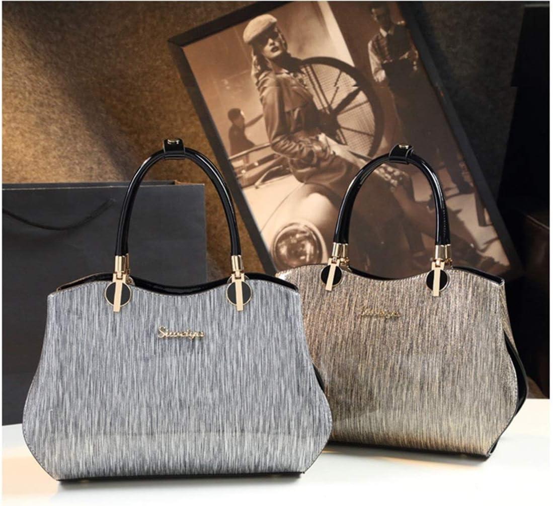 HONGHUIKE Handtaschen Damen grau gestreifte Einkaufstasche Wildleder Schulter Crossbody Handtasche (Farbe : Gold) Gold