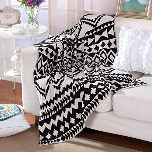 Knitting Blanket Jacquard Soft Sofa Cover Baby Receiving Blanket Warm, 50 by 62inch (130x160cm), Black& White Pattern US Style Cotton Striped Receiving Blanket