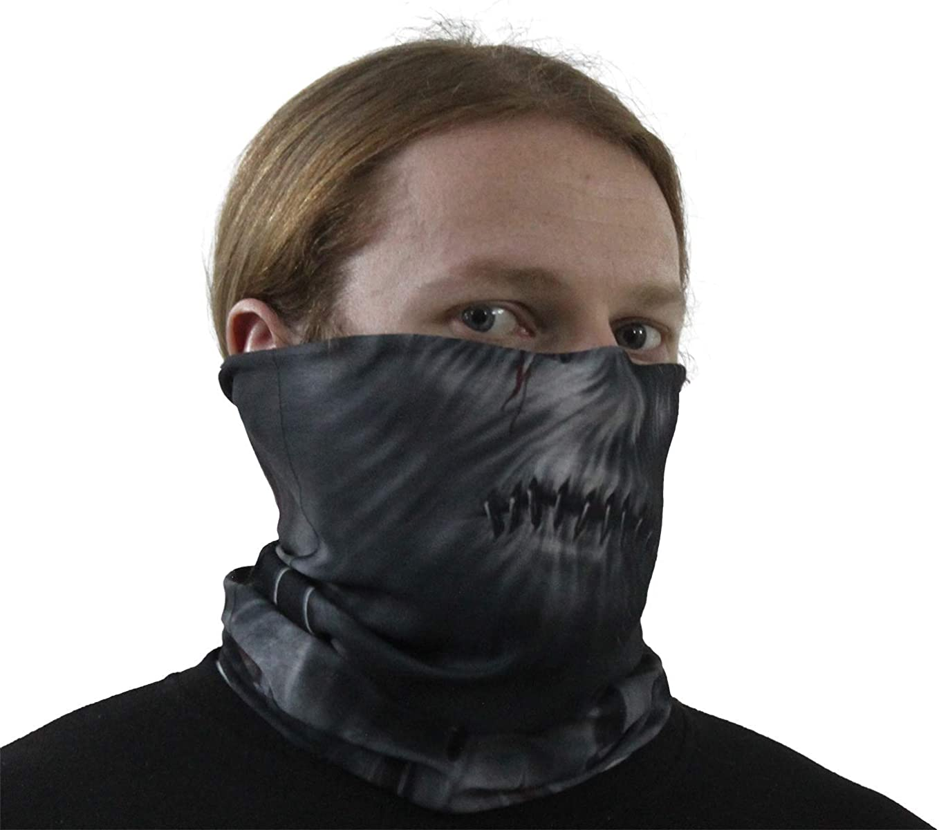 Stitched Up Spiral Multifunctional Face Wraps Black