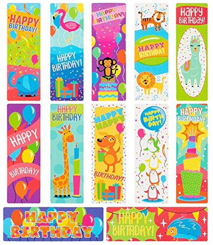 Birthday Bookmarks - Sustainable Greetings 72-Pack Bulk Birthday Book Markers for Kids, Students, and Classroom - 12 Cute Bookmark Designs, One-Sided Heavyweight Cardstock, 7.2 x 2.4 Inches