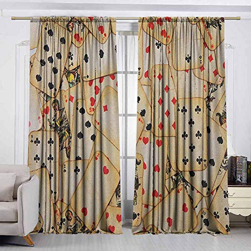 VIVIDX Thermal/Room Darkening Window Curtains,Casino,Old Playing Cards Themed Vintage Classic Style Entertaining Wealth Fortune,Curtains for Living Room,W55x39L Inches Beige Red Black]()
