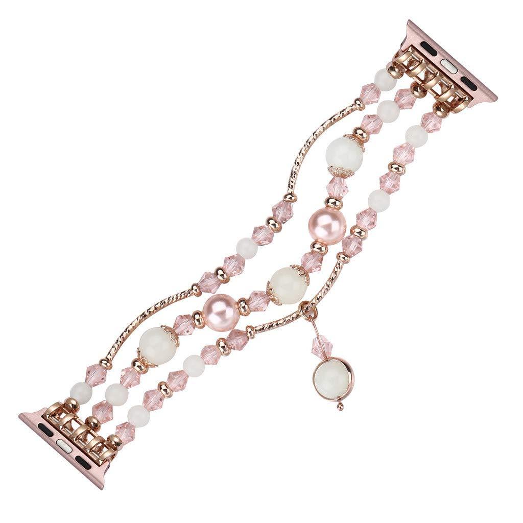 SOthread(TM) for Apple Watch 4 Night Luminous Pearl Bracelet Elastic Adjustable 40MM