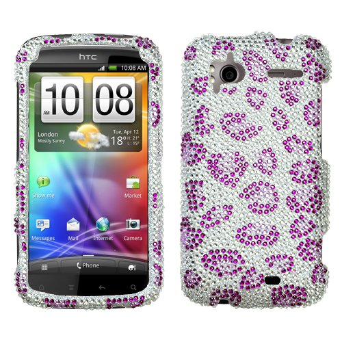 Leopard Skin/purple Diamante Protector Faceplate Cover For HTC Sensation 4G
