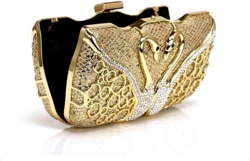 JOLLY Di cristallo della frizione for le donne borsa da sera con strass (Color : Gold) Silver