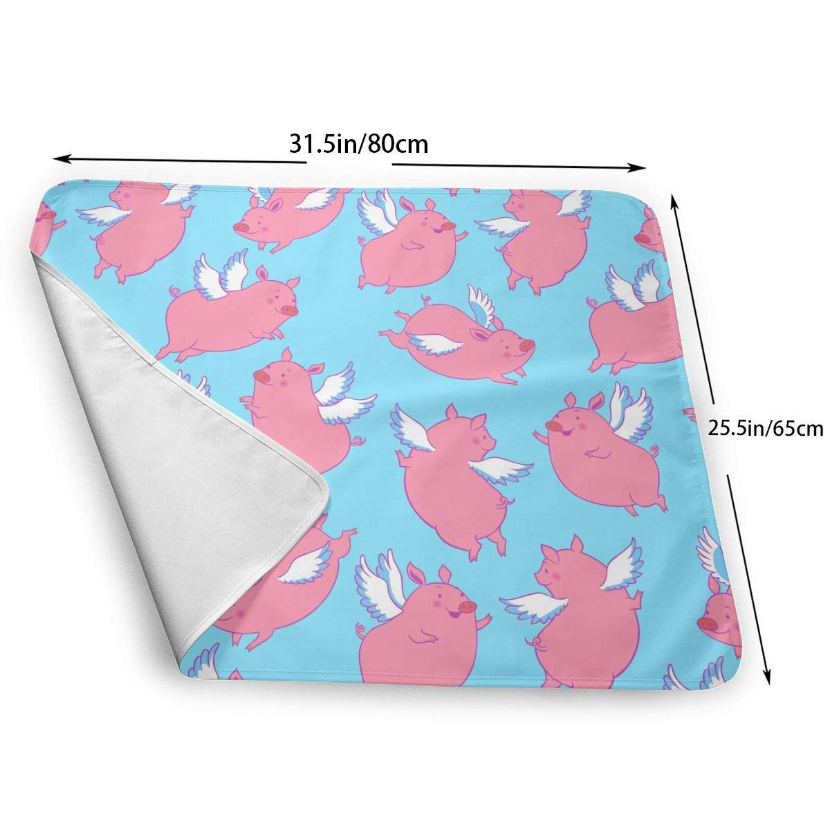 gro/ß 25,5 x 80 cm Wickelunterlage f/ür Jungen und M/ädchen wasserdicht Lustige Wickelunterlage mit fliegendem Schweinchen weich f/ür Neugeborene