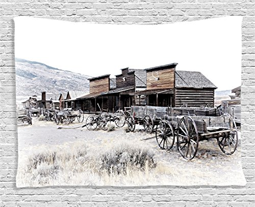 Ambesonne Western Tapestry, Old Wooden Wagons from 20's in Ghost Town Antique Wyoming Wheels Artwork Print, Wide Wall Hanging for Bedroom Living Room Dorm, 60