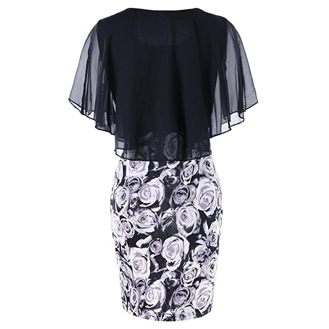 Amazon.com: Dress,kaifongfu Fashion Womens Casual Plus Size Skirt Rose Flower Print Chiffon O-Neck Ruffles Mini Dress: Clothing