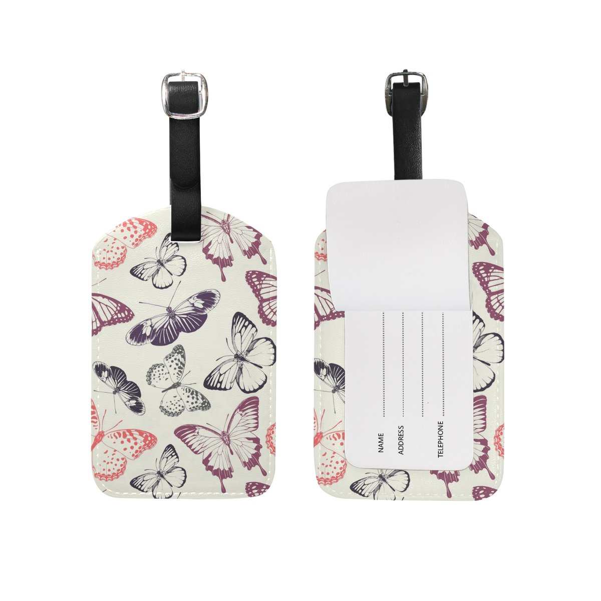 Art Butterfly Travel Leather Luggage Tags Bagage ID Labels (2 Pcs Set)