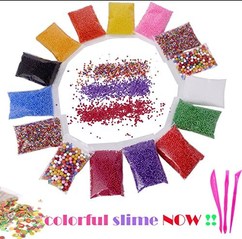 Slime!!! Colorful!! Styrofoam Foam Balls for Slime 15-Pack Colorful Mini Foam Beads with Slime Tools and Fruit Slice for Homemade Slime, DIY Craft, Wedding and Party Decorations