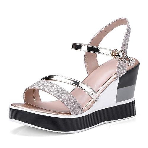 style de mode vente limitée original Femmes Chunky Heel Platform Sandal Mode Boucle Peep Toe ...