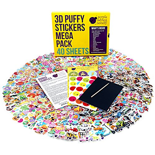 40 No Repeat Sheets Puffy Sticker Mega Variety Pack by Purple Ladybug Novelty, 950+ 3D Puffy Stickers For Kids, Toddlers & Teachers, Including Animals, Smiley Faces, Cars & More! Free Sample Pack Too!