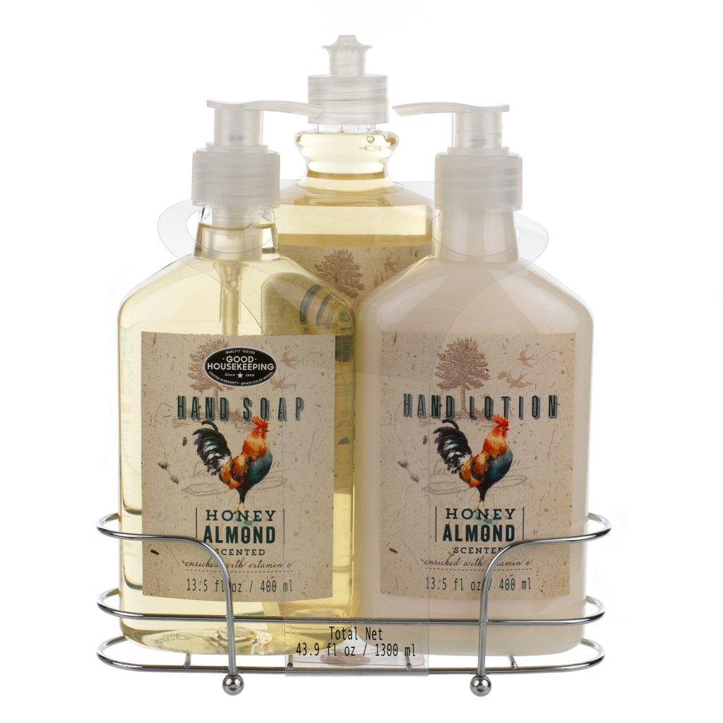 Liquid Soap & Lotion Kitchen Caddy: Tri Coastal Design Silver Wire Sink Basket Set - Honey Almond Dish Soap, Hand Soap, and Lotion - 13.5 Fluid Ounces