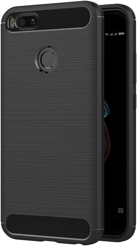 AICEK Funda Xiaomi Mi 5X / Xiaomi Mi A1, Negro Silicona Fundas para Xiaomi Mi 5X Carcasa Xiaomi 5X Fibra de Carbono Funda Case (5,5 Pulgadas)
