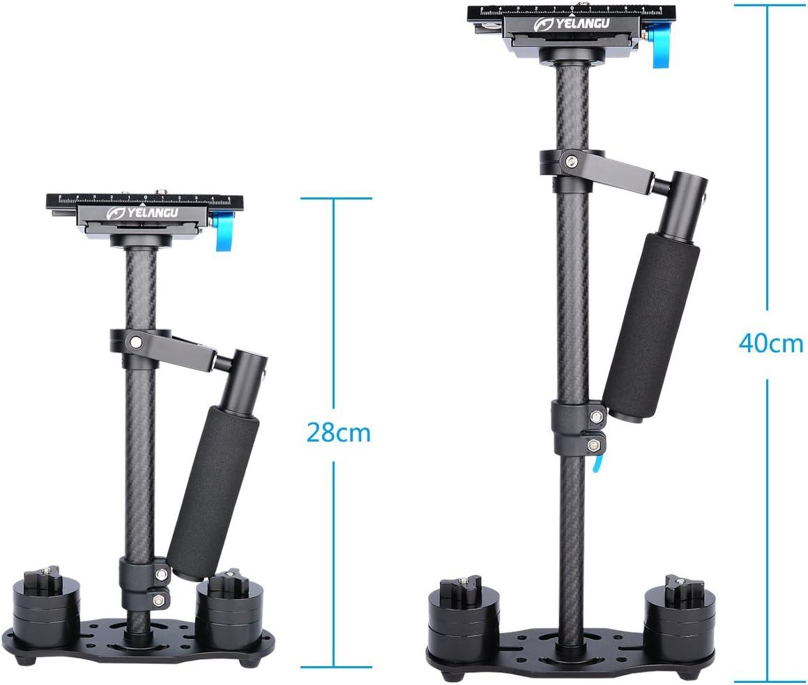 YELANGU 40cm//16 Professional Handheld Carbon Fiber Stabilizer for iPhone DSLR Video Camera Nikon Canon Sony