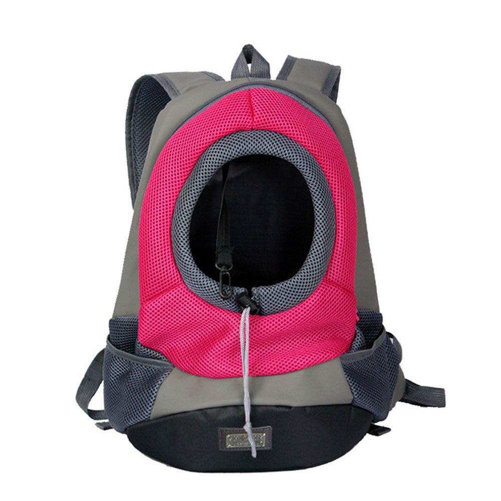 pink L pink L BIBSS Portable Pet Backpack Small Dog Cat Pet Carrier Bag Breathable Mesh Double Shoulder Bag Outdoor Travel Carrier (L, pink)