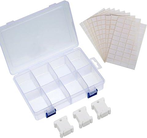Sumind 100 Piezas Bobinas de Hilo de Plástico Blancas Bobinas de Hilo de Punto de Cruz con Caja de Plástico y 500 Piezas Etiquetas Adhesivas en Blanco: Amazon.es: Hogar